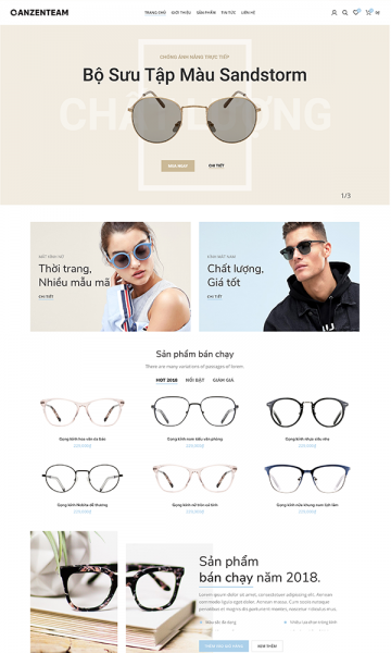 Theme bán mắt kính Bling